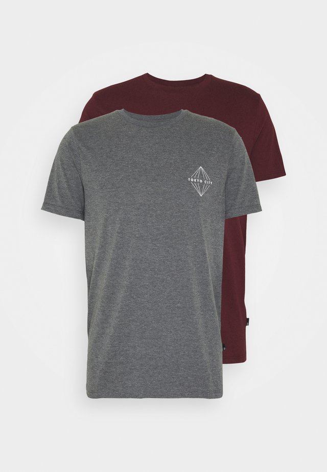 BROOKLYN CHEST TEE AND TOKYO 2 PACK - T-shirts med print - burgundy