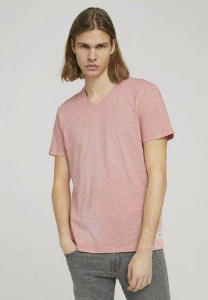 Print T-shirt - orange white yd melange stripe