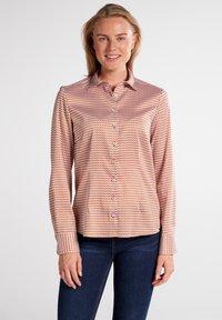 Eterna - MODERN CLASSIC - Button-down blouse - braun/weiß - 0