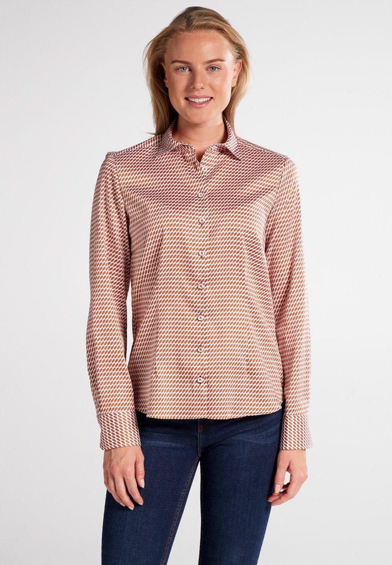 Eterna - MODERN CLASSIC - Button-down blouse - braun/weiß