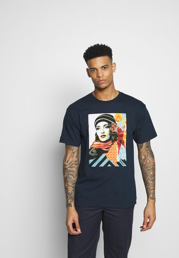OBEY FIRE - Printtipaita - navy