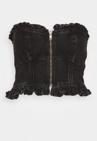 Topshop - FRILL MILKMAID CORSET - Top - washed black - 3