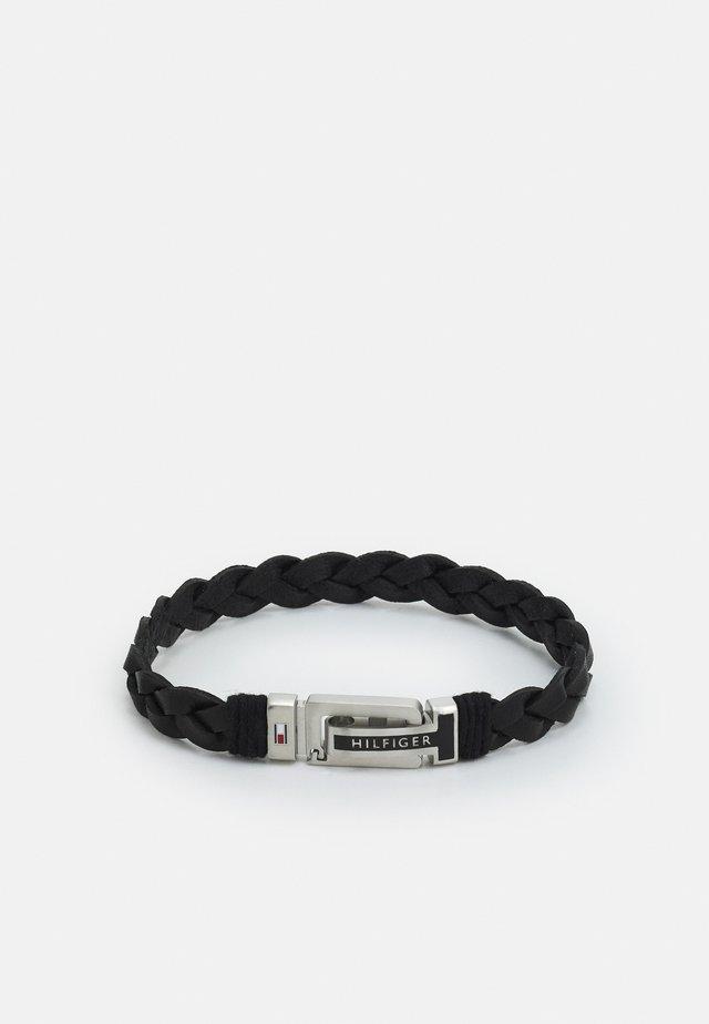 FLAT BRAIDED BRACELET - Náramek - black/silver