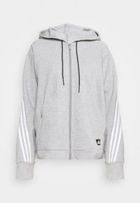 adidas Performance - LINEAR FULL ZIP ESSENTIALS SPORTS HOODIE - Sweatjakke /Træningstrøjer - mgreyh/white - 0
