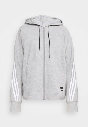 LINEAR FULL ZIP ESSENTIALS SPORTS HOODIE - Collegetakki - mgreyh/white
