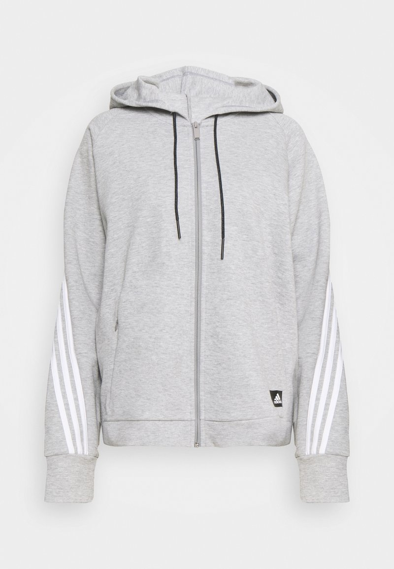 adidas Performance - LINEAR FULL ZIP ESSENTIALS SPORTS HOODIE - Sweatjakke /Træningstrøjer - mgreyh/white