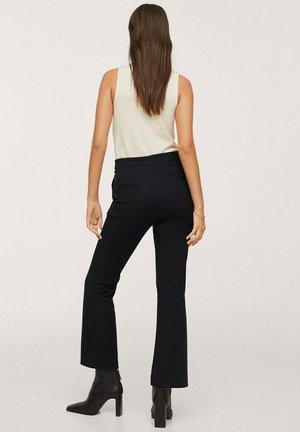HIGH-WAIST COTTON - Trousers - black