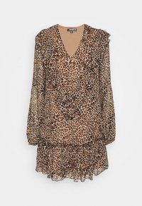 Missguided - NECK FRILL DETAIL SMOCK DRESS LEOPARD - Day dress - stone - 4
