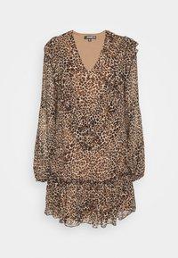 Missguided - NECK FRILL DETAIL SMOCK DRESS LEOPARD - Vestito estivo - stone - 4