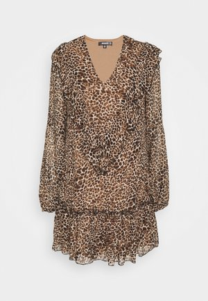 NECK FRILL DETAIL SMOCK DRESS LEOPARD - Kjole - stone