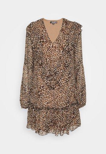 NECK FRILL DETAIL SMOCK DRESS LEOPARD
