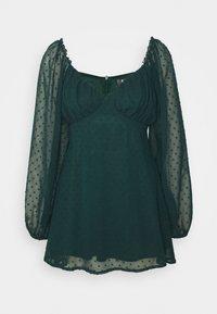 Missguided Petite - MILKMAID SKATER DRESS DOBBY - Kjole - dark green - 0