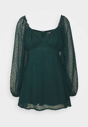 MILKMAID SKATER DRESS DOBBY - Korte jurk - dark green
