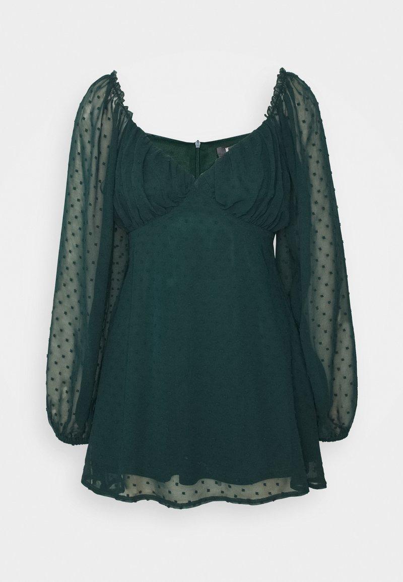 Missguided Petite - MILKMAID SKATER DRESS DOBBY - Kjole - dark green