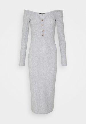 BARDOT BUTTON UP MIDI DRESS - Pouzdrové šaty - grey
