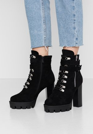 WIDE FIT LONDON - High heeled ankle boots - black