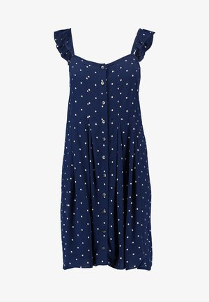 RUFFLE TIE STRAP RELEASE PLEAT DRESS - Košilové šaty - nightfall
