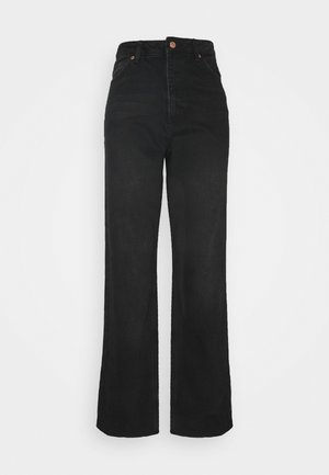 HIGH WAIST RAW - Džíny Straight Fit - washed black