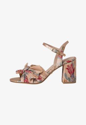 High heeled sandals - beige flower
