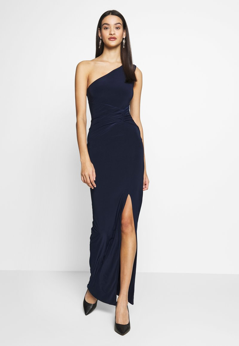 Club L London - ONE SHOULDER RUCHED WAIST MAXI DRESS - Vestido de fiesta - navy