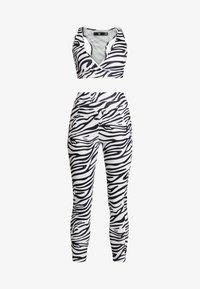 ACTIVE ZEBRA PRINT FULL LENGTH SET - Leggings - Trousers - white