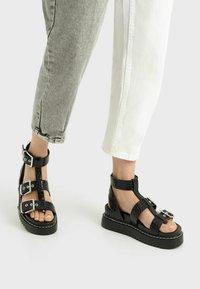 Bershka - Platform sandals - black - 0