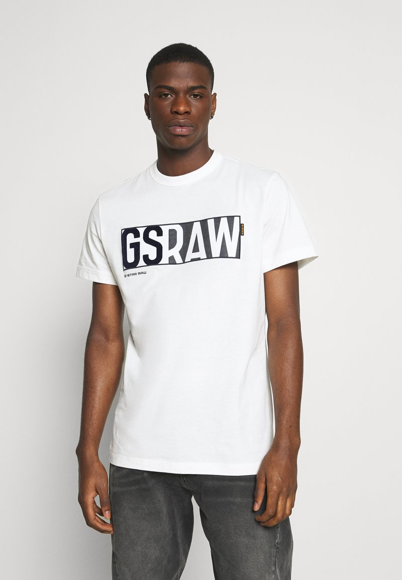 G-Star - GS RAW DENIM LOGO + ROUND SHORT SLEEVE - Print T-shirt - compact jersey o peach - milk