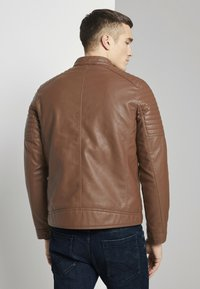 TOM TAILOR - Faux leather jacket - mid brown fake leather - 2