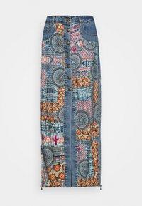 AFRICAN - Maxi skirt - blue