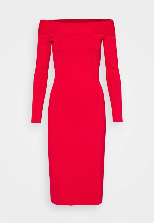 COMPACT SHINE BARDOT FITTED DRESS - Tubino - red