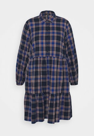 BUTTON FRONT CHECK SMOCK MINI - Day dress - blue
