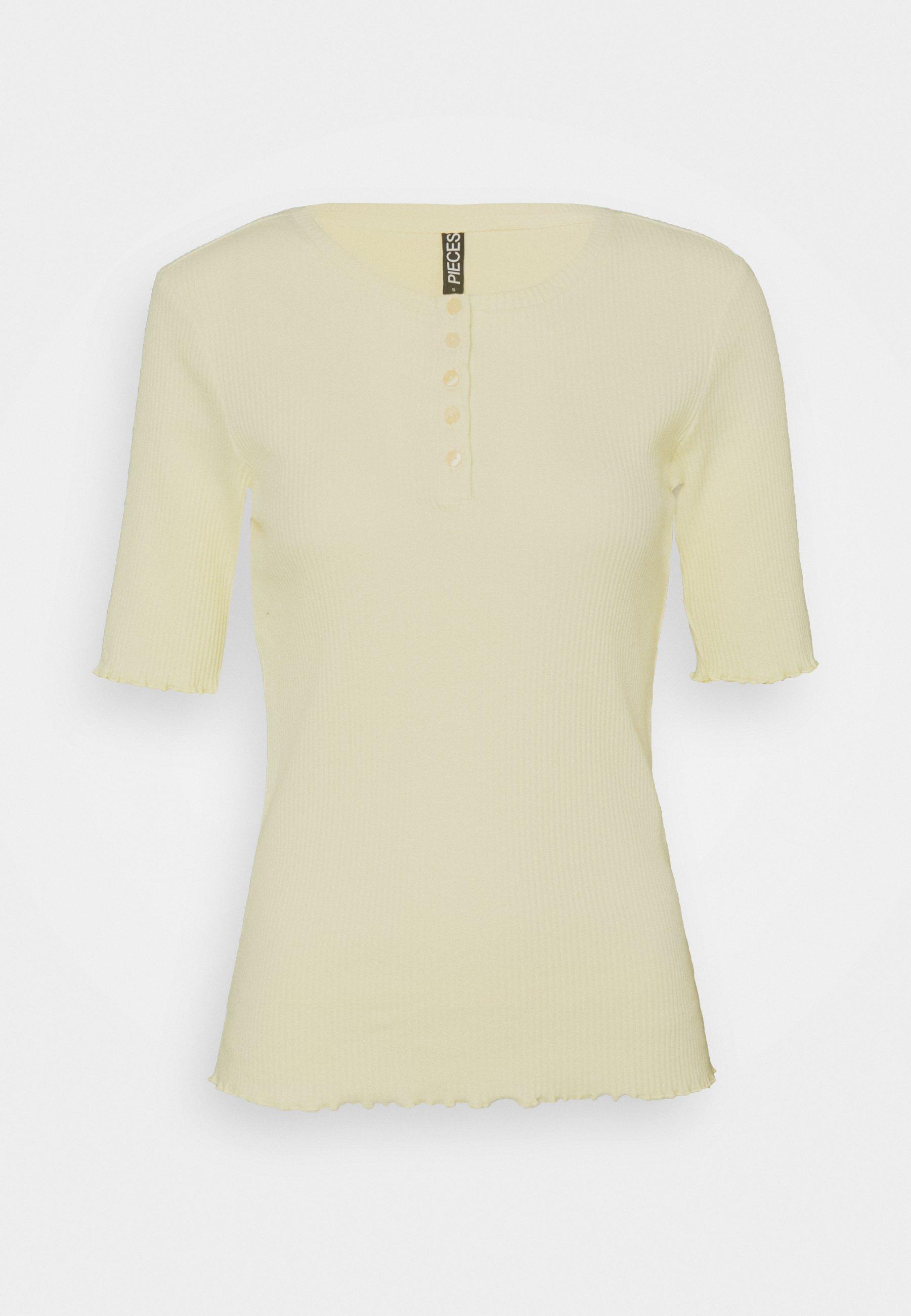 Femme PCLUCA HALF PLACKET TEE - T-shirt basique