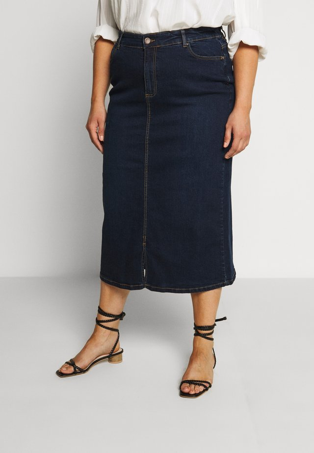MIDI SKIRT WITH ELASTICATED BACK WAISTBAND - A-line skirt - indigo