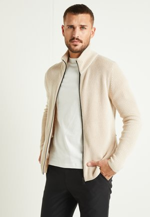 KARL ZIP CARDIGAN - Strickjacke - sand beige