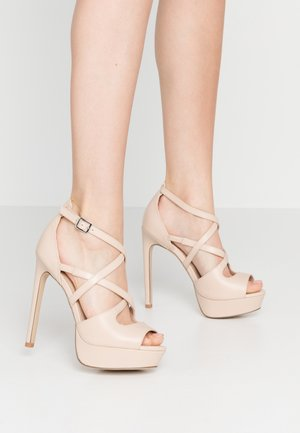 LEATHER - Sandalen met hoge hak - nude