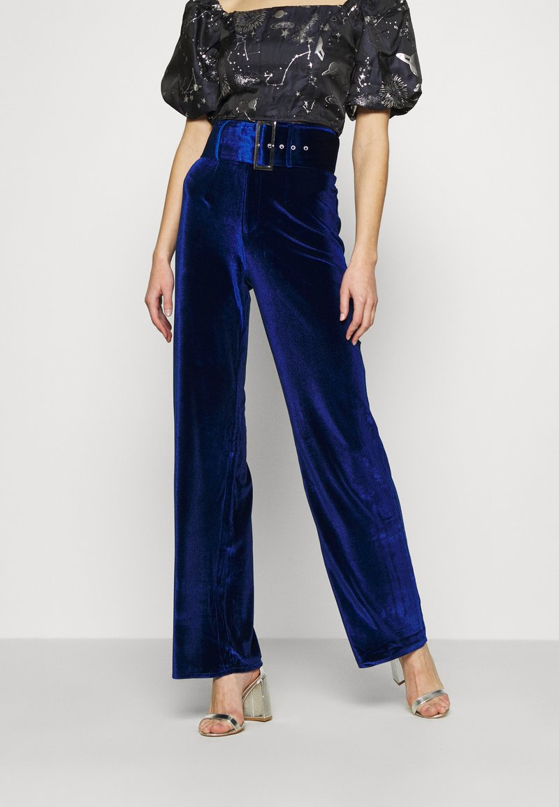 Missguided - BELTED WIDE LEG TROUSER - Trousers - navy
