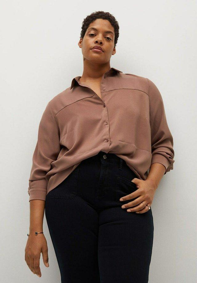 Button-down blouse - dunkelorange