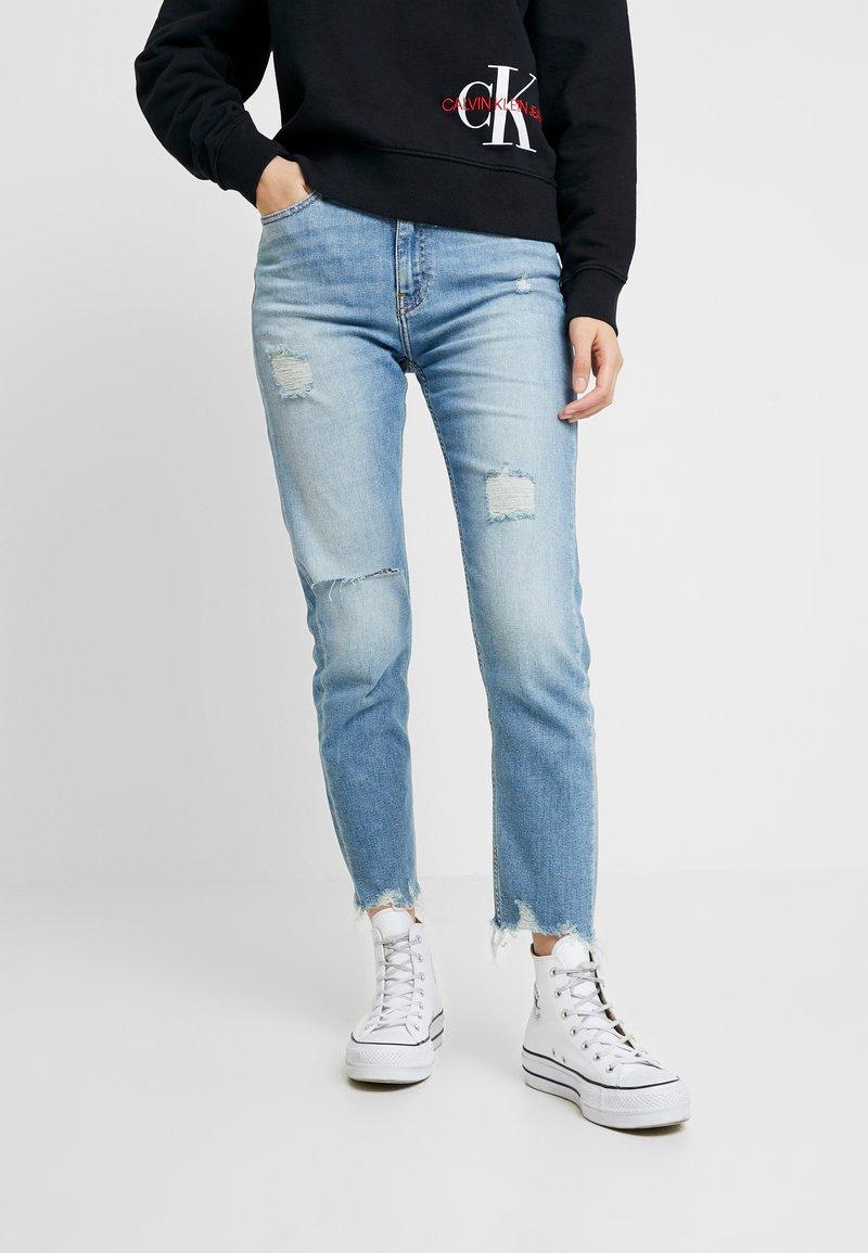 Calvin Klein Jeans - HIGH RISE SLIM ANKLE - Džíny Slim Fit - honcho blue