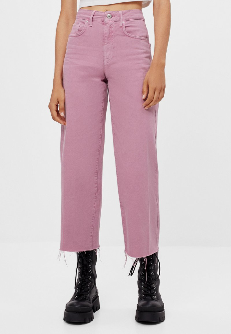 Bershka - Džíny Straight Fit - pink