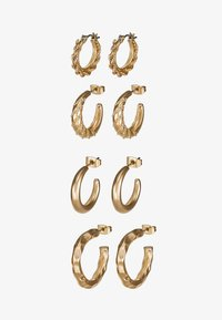 PCSOL HOOP EARRINGS 4 PACK  - Øredobber - gold-coloured