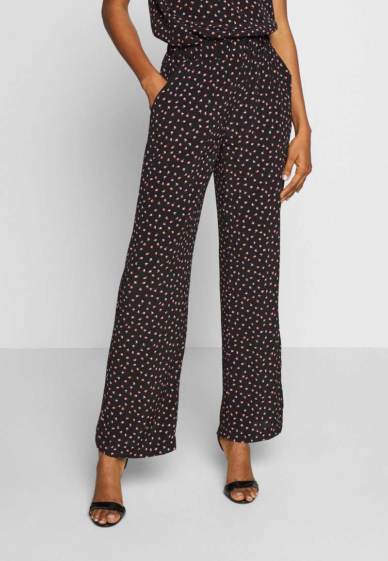 Pieces - PCNIMMA WIDE PANT - Trousers - black