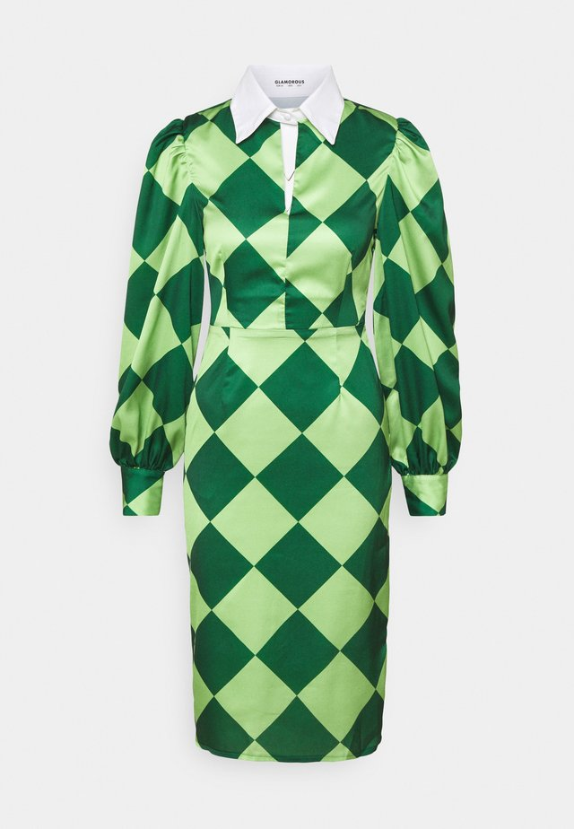 COLLAR MIDI DRESS - Korte jurk - green diamond