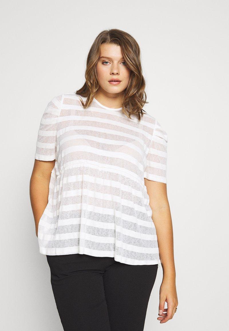 Lost Ink Plus - STRIPED SMOCK - T-shirt print - cream