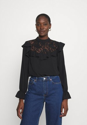 RUFFLE - Long sleeved top - black