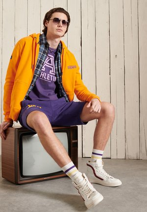 HERITAGE MOUNTAIN GRAPHIC - Zip-up hoodie - vivid marigold
