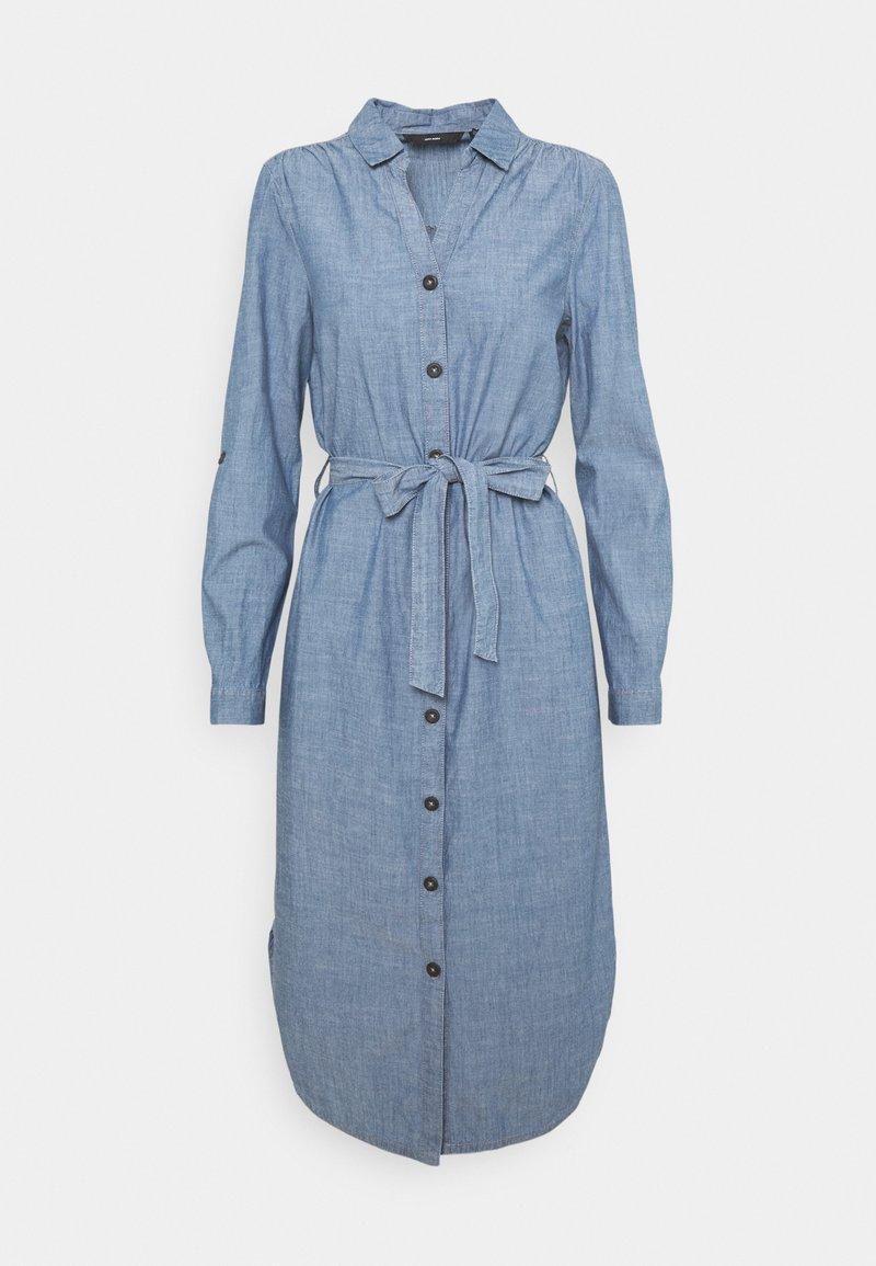 Vero Moda - VMAKELA CHAMBRAY LONG SHIRT DRES - Denimové šaty - medium blue denim