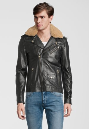 GALLERY - Leather jacket - black with camel