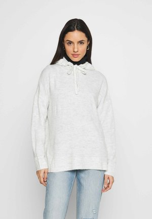 JDYELANOR HOOD - Jersey de punto - white/melange