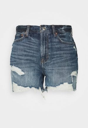 BOYFRIEND MID LENGTH - Denim shorts - dark blue