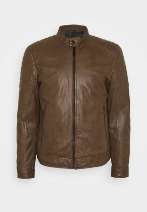 DERRY - Leather jacket - tobacco